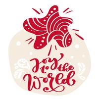 Dibujado a mano estrella escandinava ilustración. Alegría al mundo texto de letras de vector de caligrafía. tarjeta de felicitación de Navidad. Objetos aislados