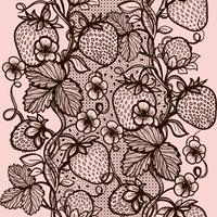 Vector lace seamless pattern decorative strawberry