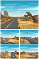 Different scenes with road in desert land