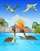 Dinosaurs swimming in the lake
