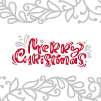Texto do vetor da rotulação da caligrafia do cartão do vintage do Feliz Natal com inverno que tira a decoração escandinava do flourish. Para design de arte, estilo de brochura de maquete, capa de ideia de bandeira, folheto de impressão de livreto, cartaz