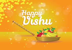 Diseño feliz del cartel de Vishu