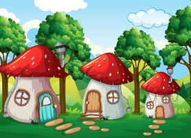 Enchanted mushroom house in nature vector