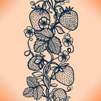 Vector lace seamless pattern decorative strawberry, leaves, intertwined with viscous of lines.
