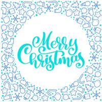 Merry Christmas Calligraphy vector text with xmas atributes. Lettering design on white background. Creative typography for Holiday Greeting Gift Poster. Font style Banner