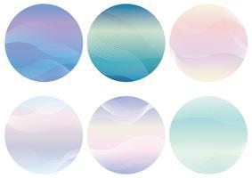 Set van ronde achtergrond met golvende patronen.