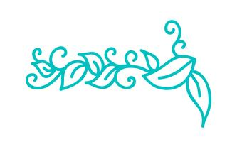 Turquoise monoline scandinavian folk flourish with leaves & flowers