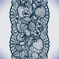 Abstract seamless lace pattern with flowers, leaves and strawberry.