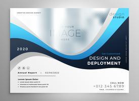 bannière de présentation d'affaires élégant bleu ondulé