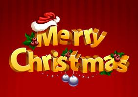 Dreidimensionale Gold-Christmass-Typografie