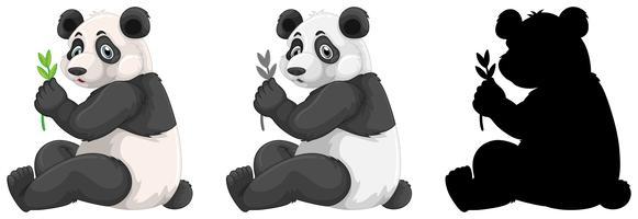 Uppsättning panda karaktär