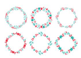 Set of vector Christmas Scandinavian Hand Drawn wreath red and blue Floral Winter Design Elements isolated on white background for retro design flourish. calligraphy and lettering illustration