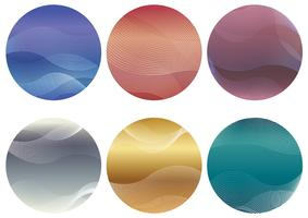 Set of round background with wavy patterns.