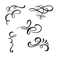 Set of Elegant vintage divider, swirl, or corner flourishes