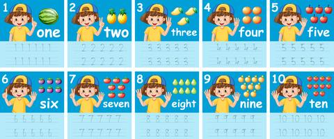 Set of number tracing worksheets