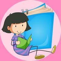 Tjej läser bok med stor bok bakgrund