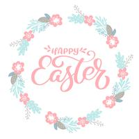 "Pink ""Happy Easter"" Hand drawn calligraphy & wreath with flowers"