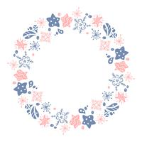 Weihnachtshand gezeichnete Kranzrosa und blaue Blumenwintergestaltungselemente lokalisiert auf weißem Hintergrund für Retro- Designflourish. Vektorkalligraphie und Beschriftungsillustration