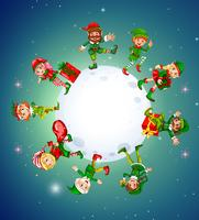 Christmas theme with elves around the moon