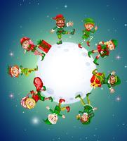 Tema navideño con elfos alrededor de la luna.