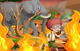 A boy and wild animals run away from wildfire