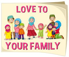 Muslim family with different age group vector