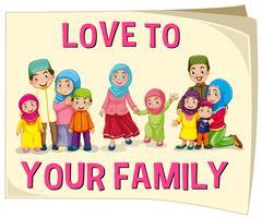 Família muçulmana com diferentes faixas etárias