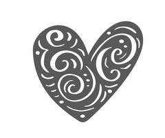 Hand drawn scandinavian Velentines Day heart with ornament flourish icon silhouette. Vector Simple contour valentine symbol. Isolated Design element for web, wedding and print