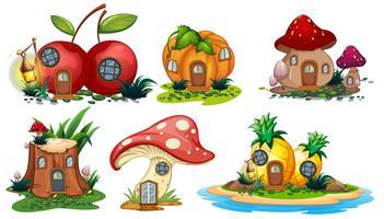 Casas de cogumelos e frutas