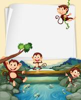 Paper template with monkeys in background