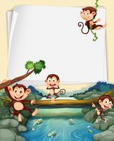 Modelo de papel com macacos no fundo