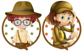 Boy and girl on round badges
