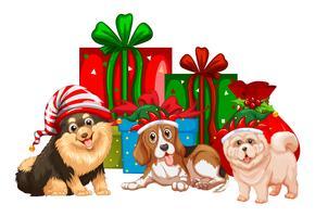 Thème de Noël avec des chiens et des cadeaux