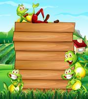 Planche de bois et grenouilles sur le terrain