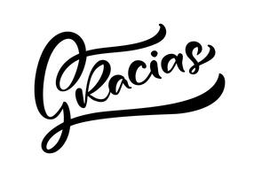 """Gracias"" (""Thank you"" in het Spaans) Moderne penseelkalligrafie"