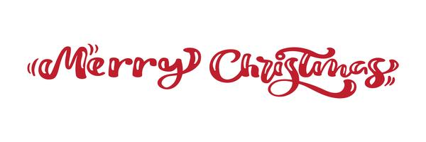 Merry Christmas red vintage calligraphy lettering vector text. For art template design list page, mockup brochure style, banner idea cover, booklet print flyer, poster