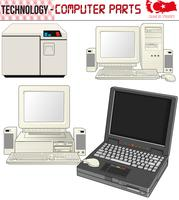 Retro Computers - apparatuur, cpu, CD en diskette, oude computer, eps, vector
