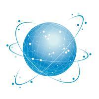 Icona del sistema di rete globale su uno sfondo bianco.