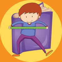 Boy and ruler with purple book background