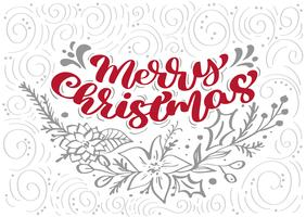 Red Merry Christmas Calligraphy Lettering vector text with winter xmas elements in scandinavian style. Creative typography for Holiday Greeting card Poster