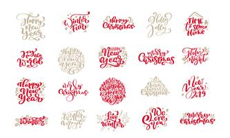 Reeks Vrolijke uitstekende kalligrafie die van Kerstmis van letters voorzien vectortekstuitdrukkingen met elementen van het de wintertekening de Skandinavische ontwerp. Voor kunstontwerp, mockup-brochure, flyer voor boekjes, poster