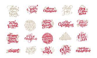 Set med god jul vintage kalligrafi bokstäver vektor text fraser med vinter ritning skandinaviska designelement. För konstdesign, mockup broschyr stil, broschyr broschyr, affisch