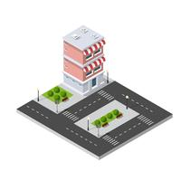Isometrisk 3D-butiksmarknadsstad
