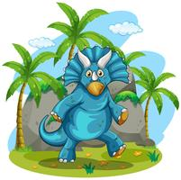 Blue rubeosaurus standing on grass