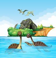 Dinosaurios viviendo en el océano