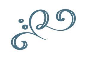 Hand getrokken Floral Winter Christmas Design-elementen in Scandinavische stijl geïsoleerd op een witte achtergrond voor retro design. Vector kalligrafie en belettering illustratie