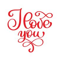 Ti amo vettoriale cartolina moderna di calligrafia. Frase per San Valentino e matrimonio. Illustrazione di inchiostro rosso. Isolato su sfondo bianco