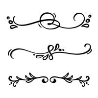 Vector vintage line elegant dividers and separators, swirls and corners decorative ornaments. Floral lines filigree design elements. Flourish curl elements for invitation or menu page illustration