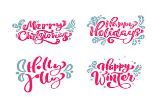 Set vector text Calligraphic Lettering Merry Christmas design card template. Creative typography for Holiday Greeting Gift Poster. Calligraphy Font style Banner