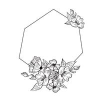 Modern Hand Drawn geometry frame with flowers and leaves